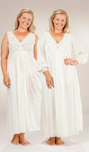 7f63814c2a898 Plus Shadowline Silhouette Long Nightgown/Robe Peignoir Set - Ivory ...