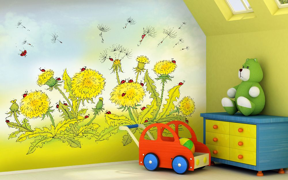 Childrens nursery wallpaper murals on pinterest murals for Children s mural wallpaper