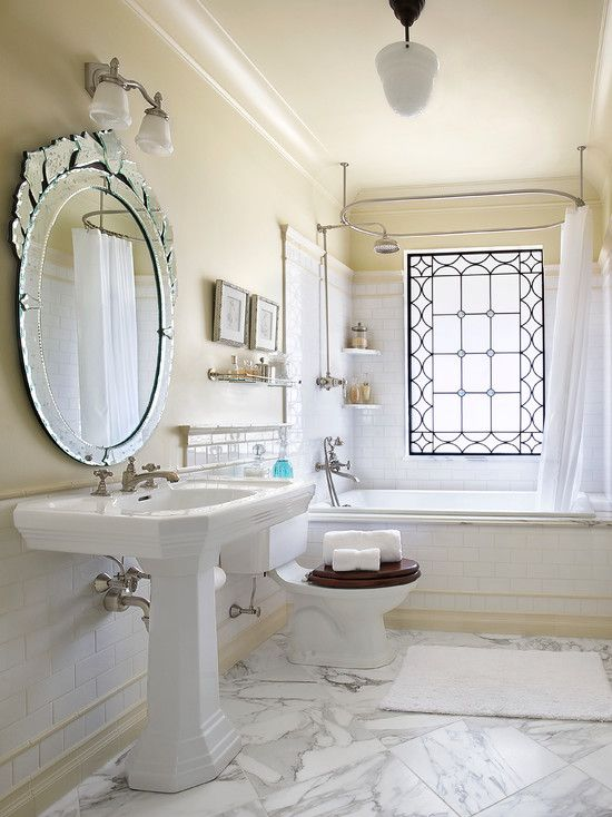 The window is definitely the focal point of this for 1920s bathroom designs