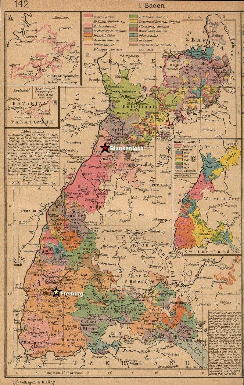 Map wurttemberg 1800 germany Jurisdictions of