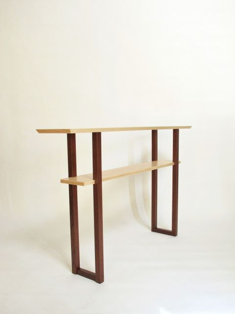 A Narrow Console Table Handmade From Tiger Maple And Walnut  Hallway Table,  Entryway Table, Side Table  Modern Wood Furniture