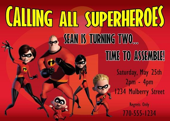 nice the incredibles birthday party invitation ideas