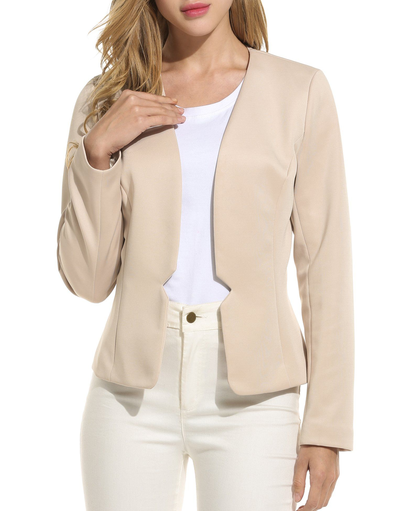 664dd347c91 ANGVNS Women Casual Work Office Open Front Cardigan Blazer Jacket ... ANGVNS