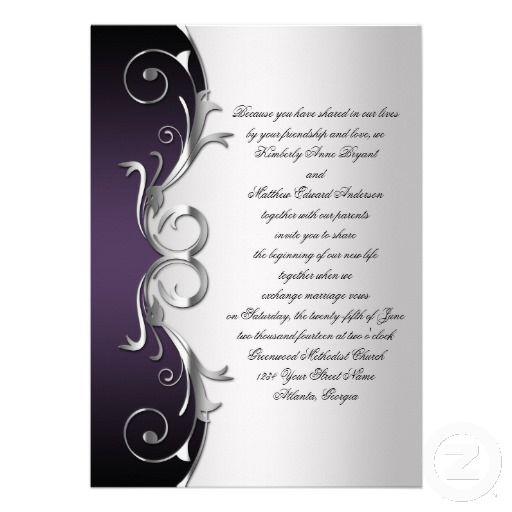 Purple And Silver Wedding Invitations: Ornate Purple Black Silver Wedding Celebration Invitation
