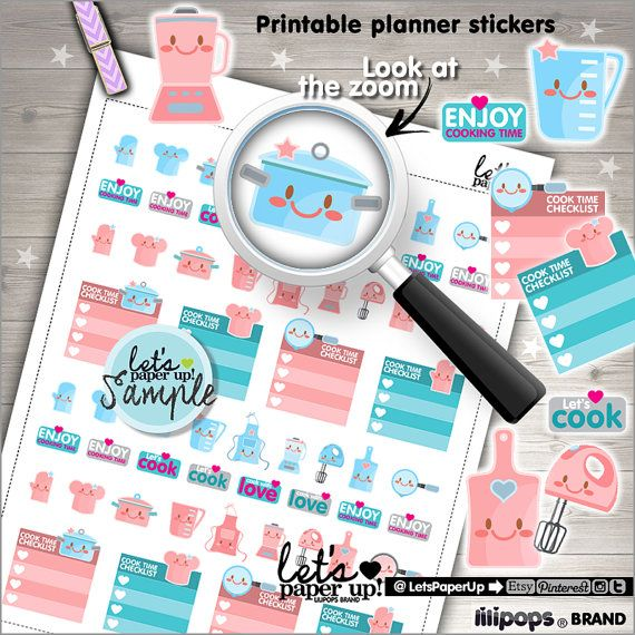 Kitchen Stickers, Printable Planner Stickers, Cooking Stickers, Cook Stickers, Erin Condren, Planner Accessories, Meal Stickers, Appliances