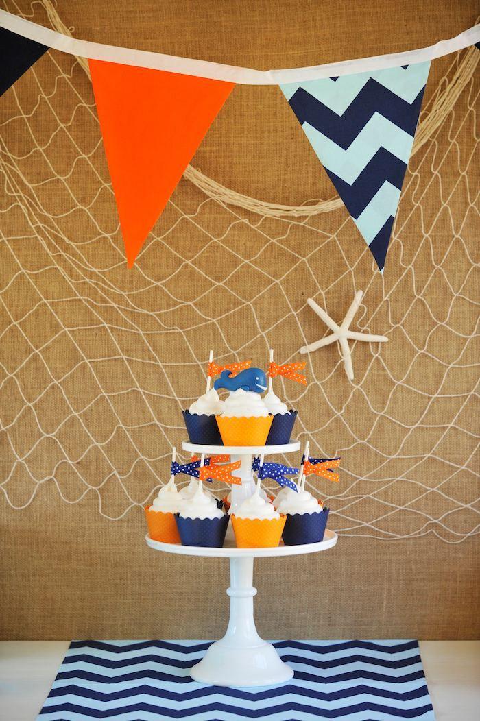 Preppy Whale Themed Birthday Party with Such Cute Ideas via Kara's Party Ideas KarasPartyIdeas.com #whaleparty #underthesea #partyideas Ocean Cupcakes Banner Nautical