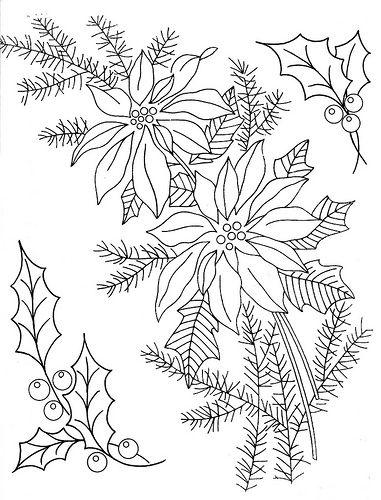 Holly & Poinsettia Embroidery Patterns   Dibujos para bordar ...