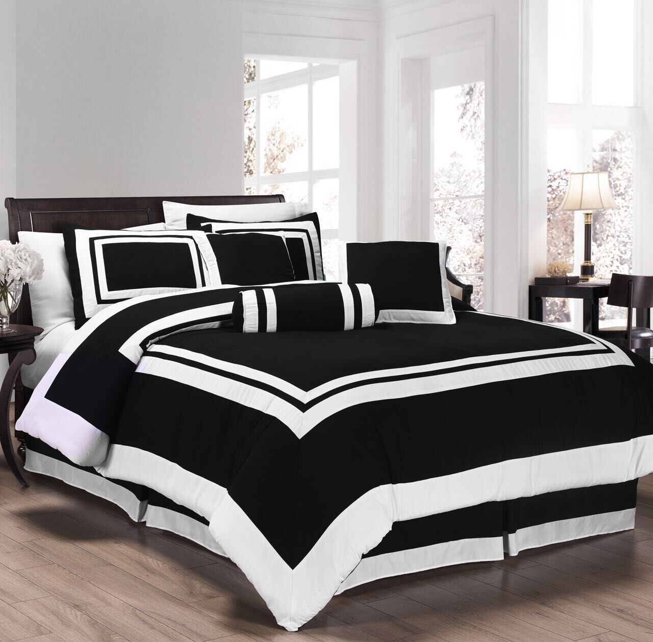 Chezmoi Collection 7 Pieces Caprice Black White Square Pattern Hotel Bedding Comforter Set Queen