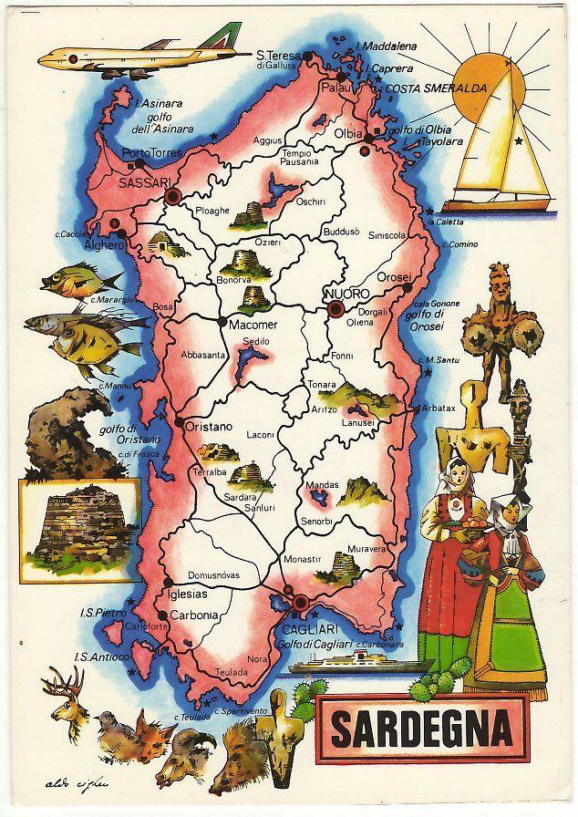 Arbatax Cartina Geografica.Cartina Geografica Della Sardegna Sardegna Geografia Schema Artistico