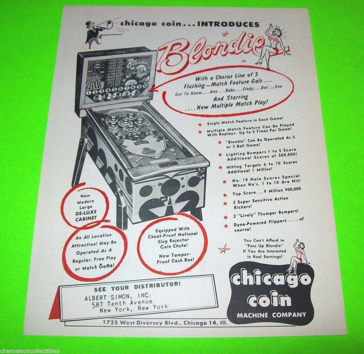 Blondie by Chicago Coin 1956 Original Pinball Machine