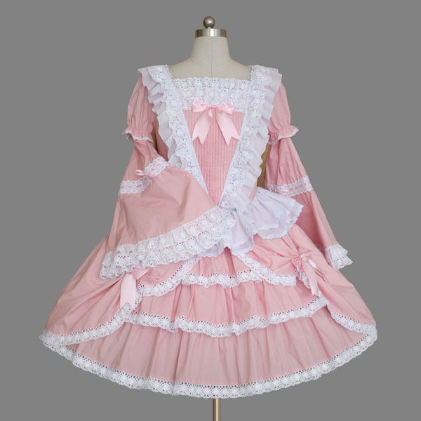 Pink Flare Long Sleeves with Lace Ruffles Sweet Lolita Dress