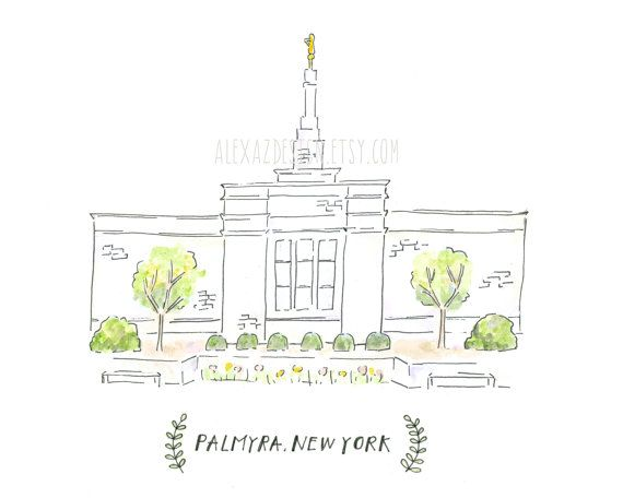 palmyra new york lds temple watercolor painting remeber