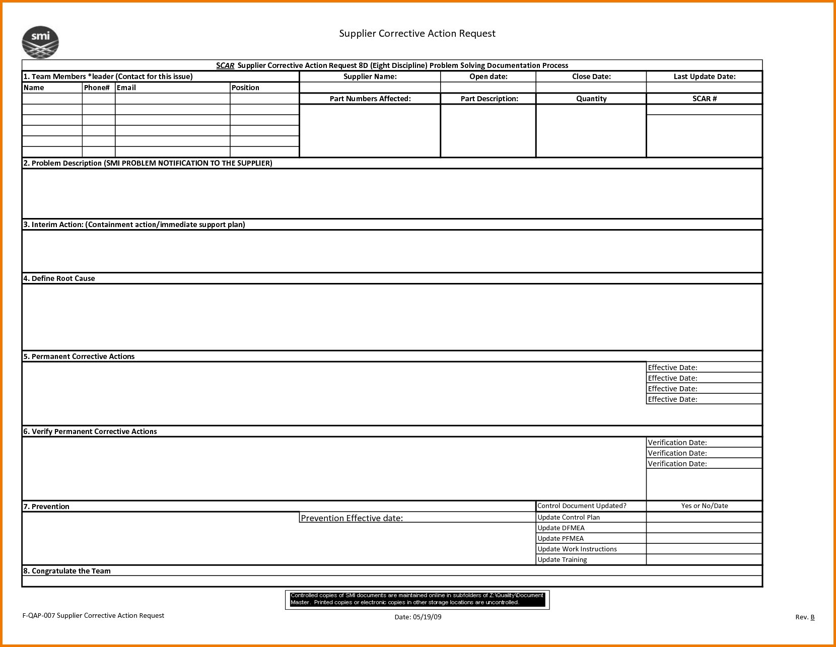 8D Report 2 Rt Template Pdf Excel Download Free Doc