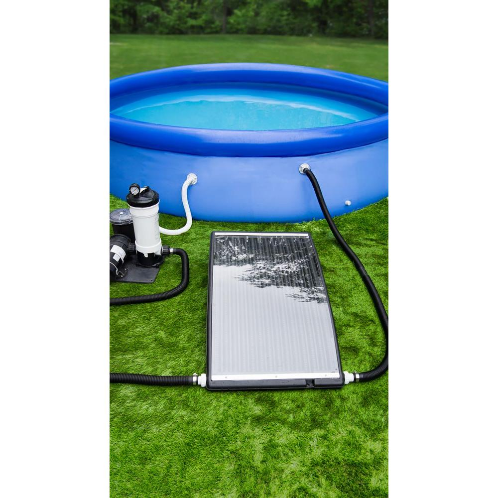 Poolmaster Slim Line Above Ground Swimming Solar Pool Heater 59026 The Home Depot Solar Pool Solar Pool Heater Easy Set Pools