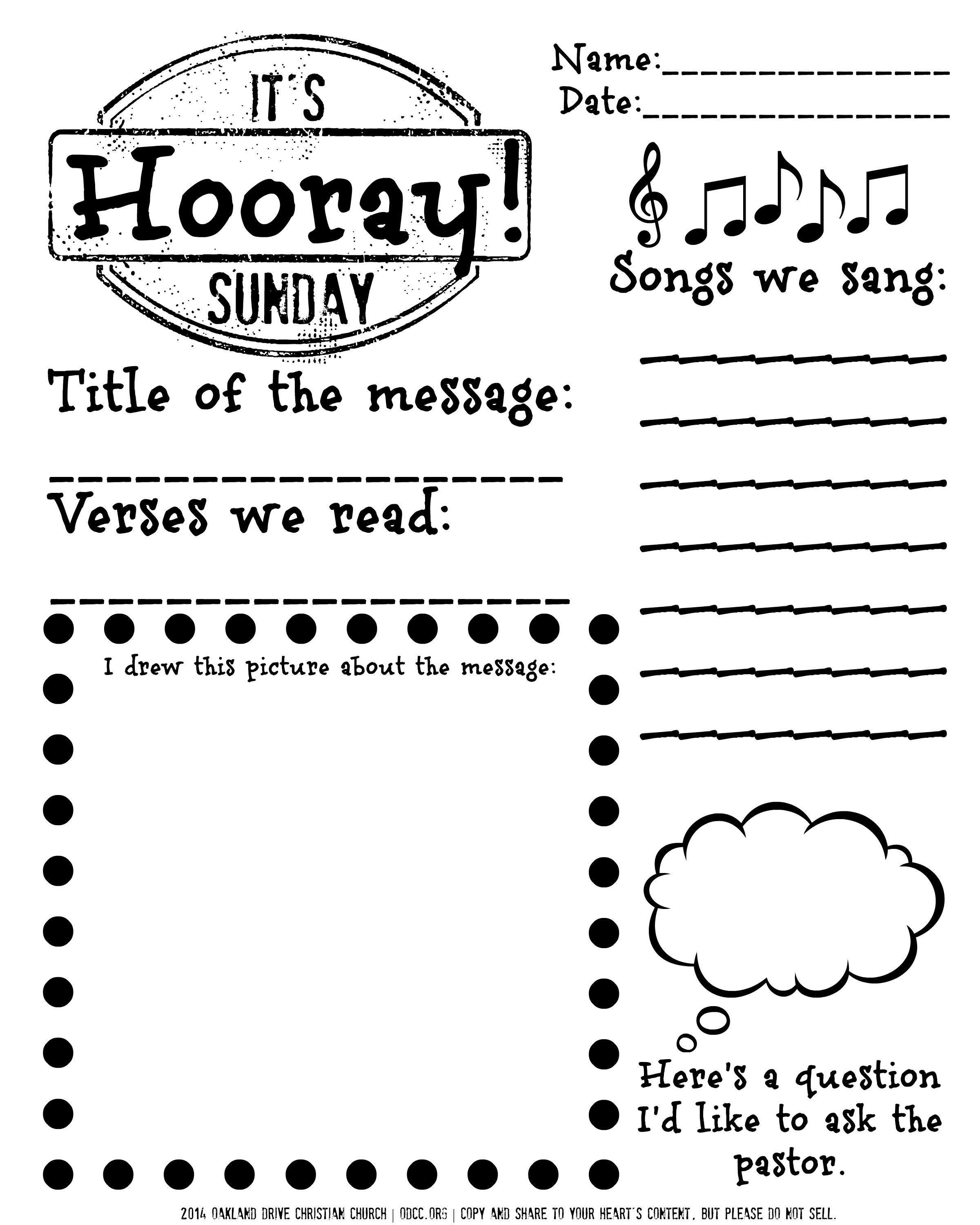 Sermon Follow Along Worksheet