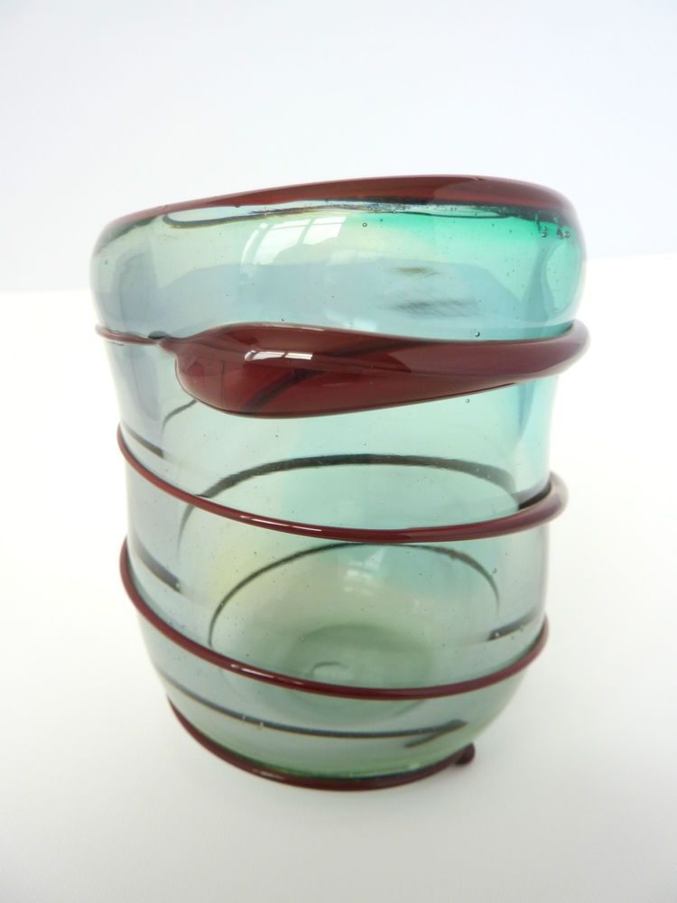 Vintage Glass Small Vase, Pot or Candle Votive - Freehand Blown - Blue / Brown