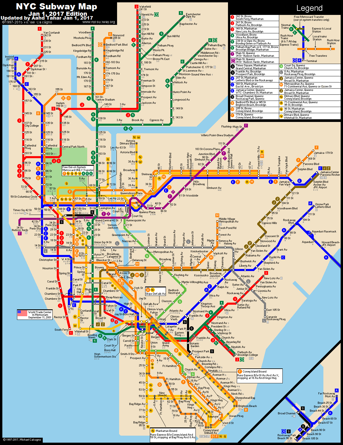 www.nycsubway.org: New York City Subway Route Map by Michael ...