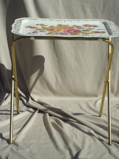 Vintage Tin Tray TV Tables, Retro All Metal Folding Tables For Crafts Etc.