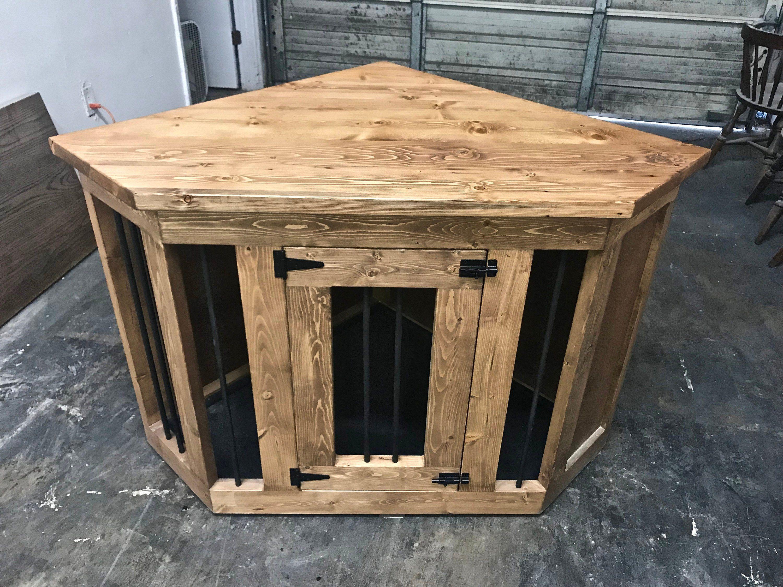 Corner Dog Kennel 1 In Quality And Customer Service Etsy Dog Crate Furniture Dog Kennel Furniture Dog Crate