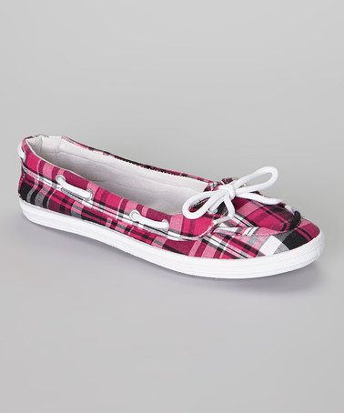 Look at this #zulilyfind! Pink Plaid Boat Shoe by LOLA #zulilyfinds $5.49, usually 24.00
