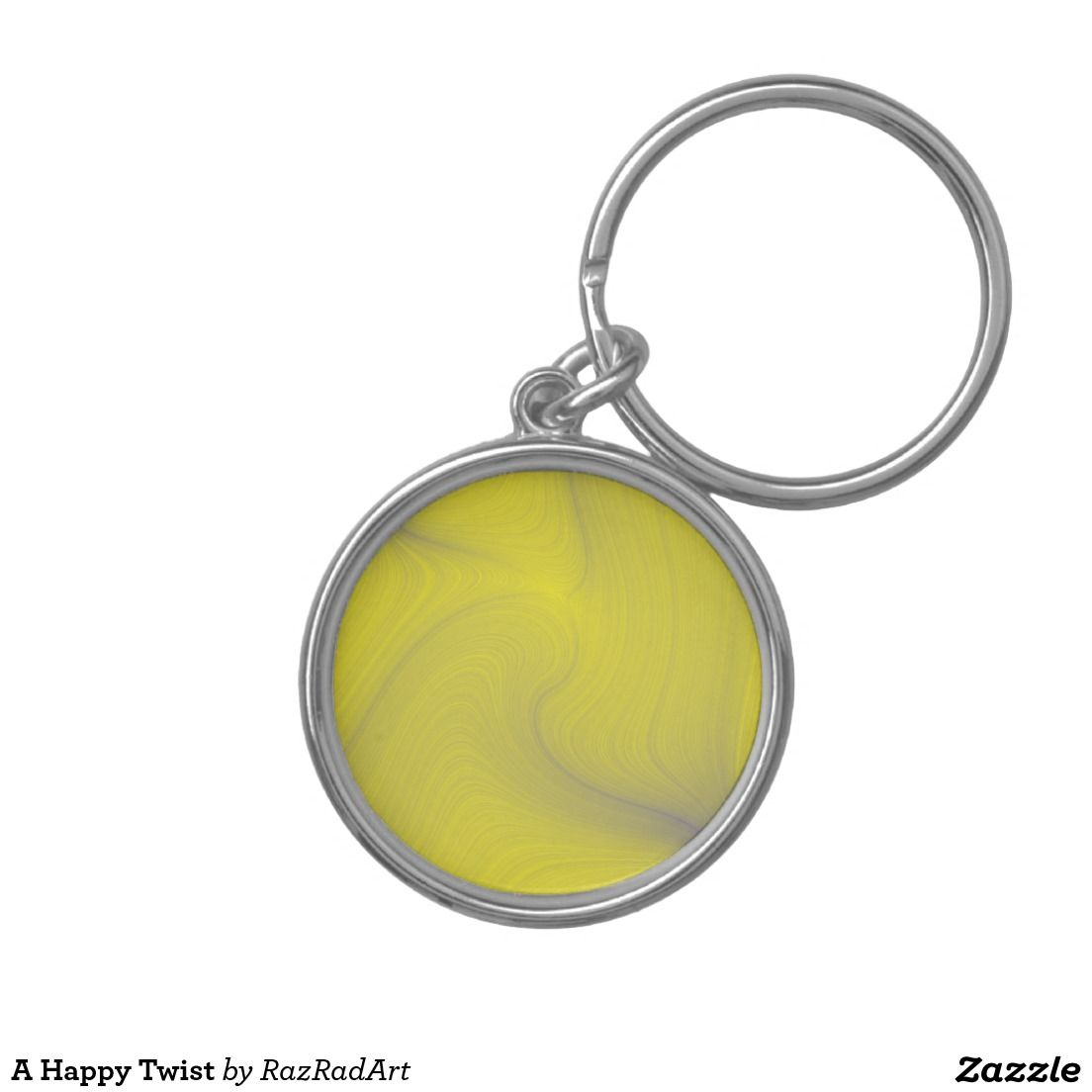 A Happy Twist Silver-Colored Round Keychain by RazRadArt