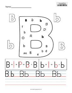 Letter B Practice Teaching Worksheet  Teaching Squared