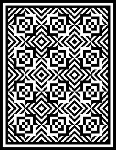 Great black and white quilt design. I wonder if she ever made it. It reminds me of Drunk Zebra.