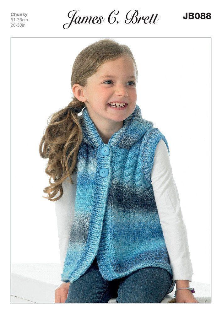 Girl's Hooded Sweater in James C. Brett Marble Chunky - JB088