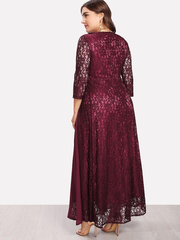 32747116 Plus High Waist Lace Overlay Wrap Dress Neckline: Deep V Neck Sleeve Length:  Three