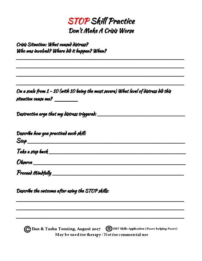 Dbt Stop Skills Practice Worksheet For S