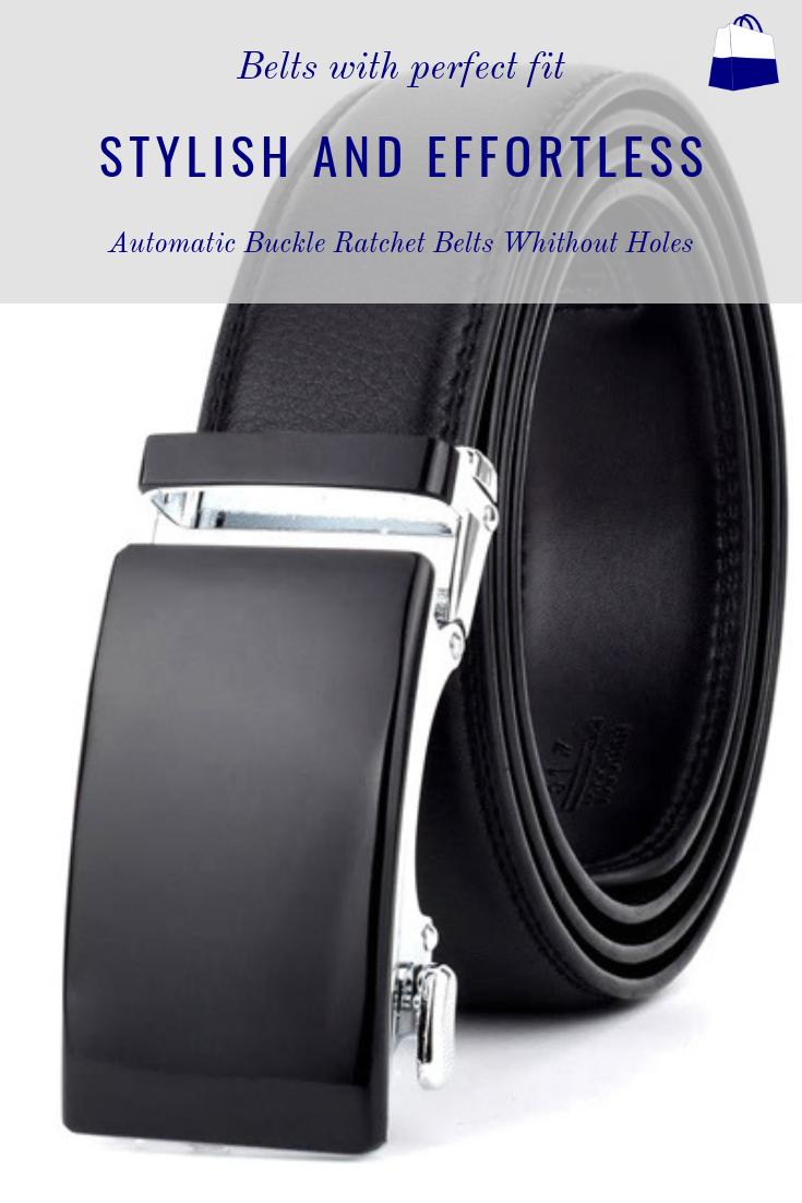 LARRY Leather Ratchet Belt without holes for Men Black