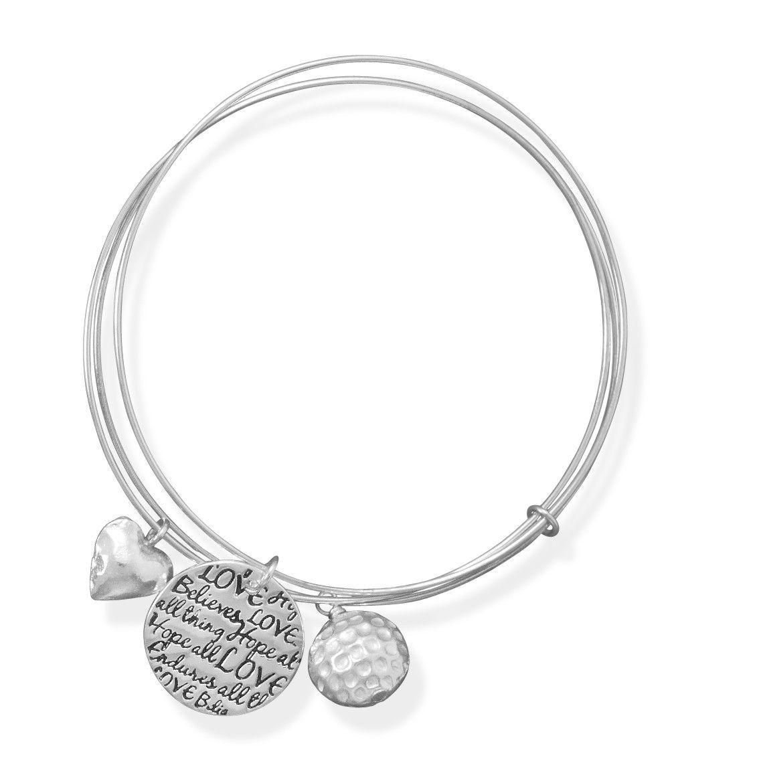 ".925 Sterling Silver 7.75"" Triple Bangle Charm Bracelet from Blue Bangle"