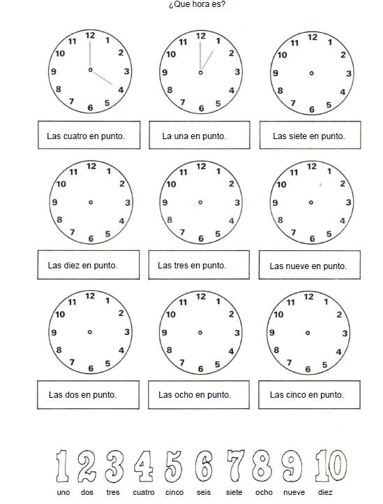 Hora en un reloj para colorear imagui educaci n - Dibujos de relojes para imprimir ...
