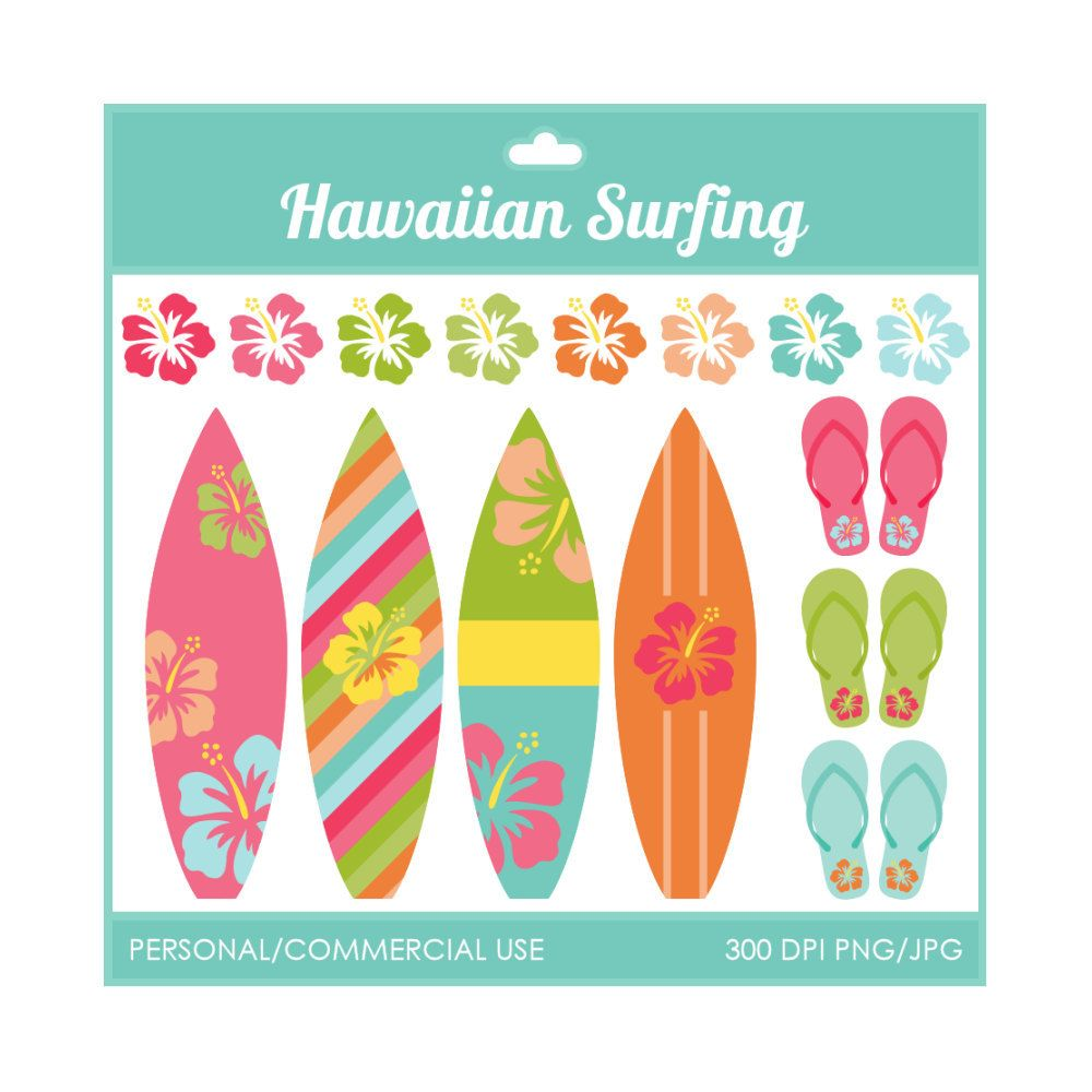 surfboard clip art with Hawaiian pattern by DigiPopShop | TpT