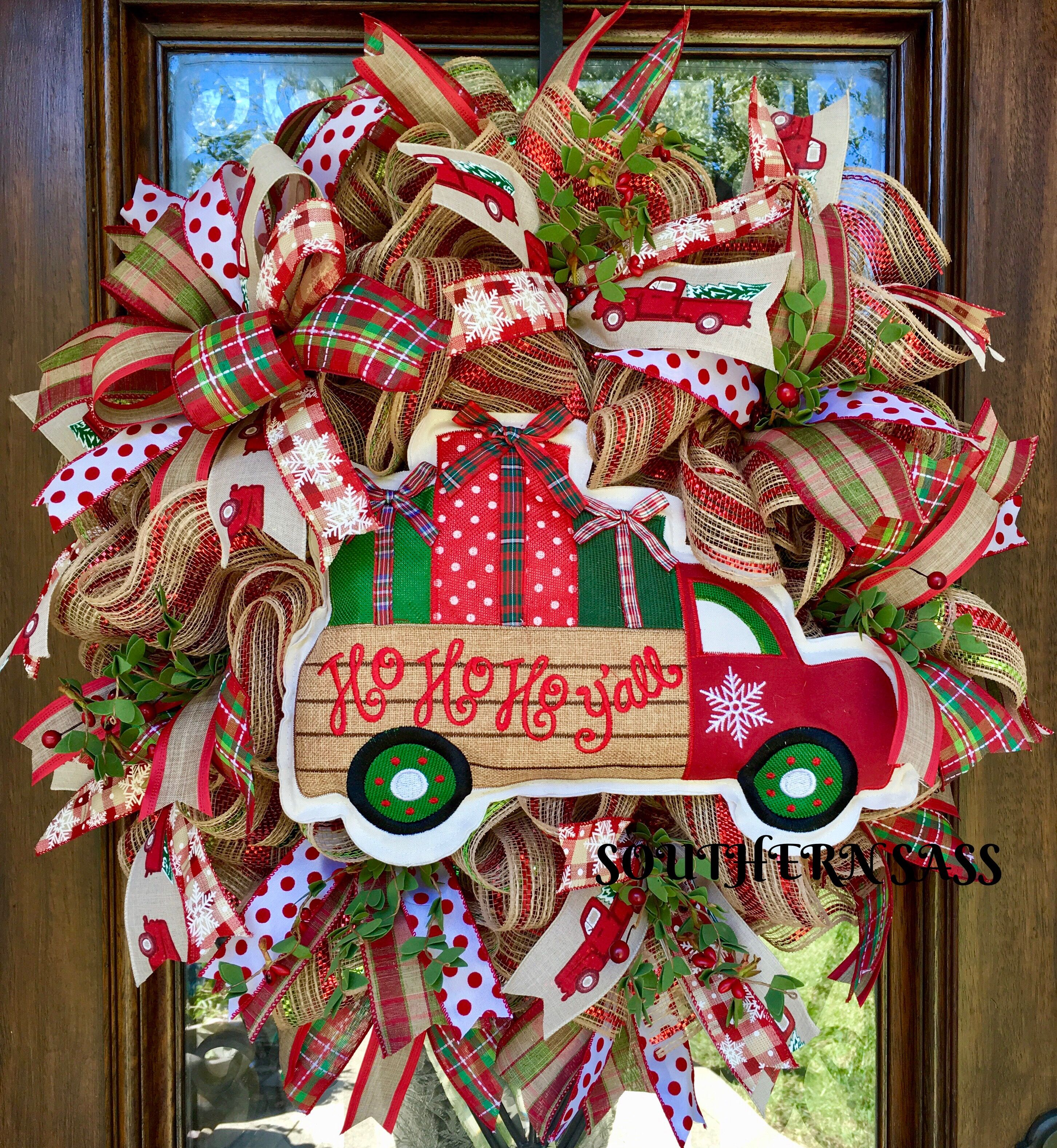 Vintage truck christmas wreath vintage truck ho ho ho wreath