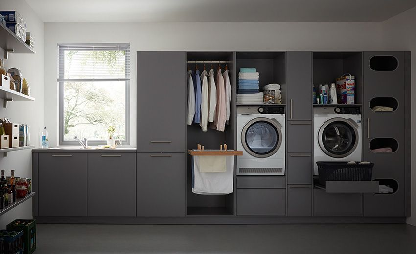 Easy Clean De Schuller L Arriere Cuisine A L Honneur In 2020 Utility Room Storage Small Laundry Room Organization Modern Laundry Rooms