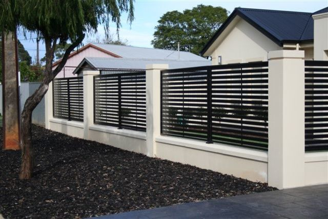 modern aluminum fence louvred metal sliding driveway gate 13 on home design - Wall Fencing Designs