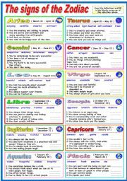 English worksheet: THE SIGNS OF THE ZODIAC- EXERCISES (B &W ...