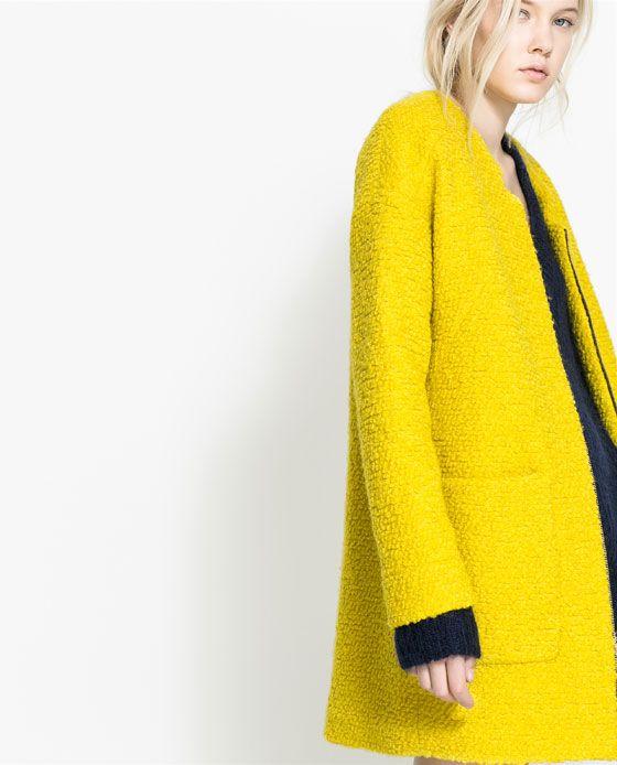 Wool coat from Zara. I love the nubby lemony-ness of it.   Yellow ...