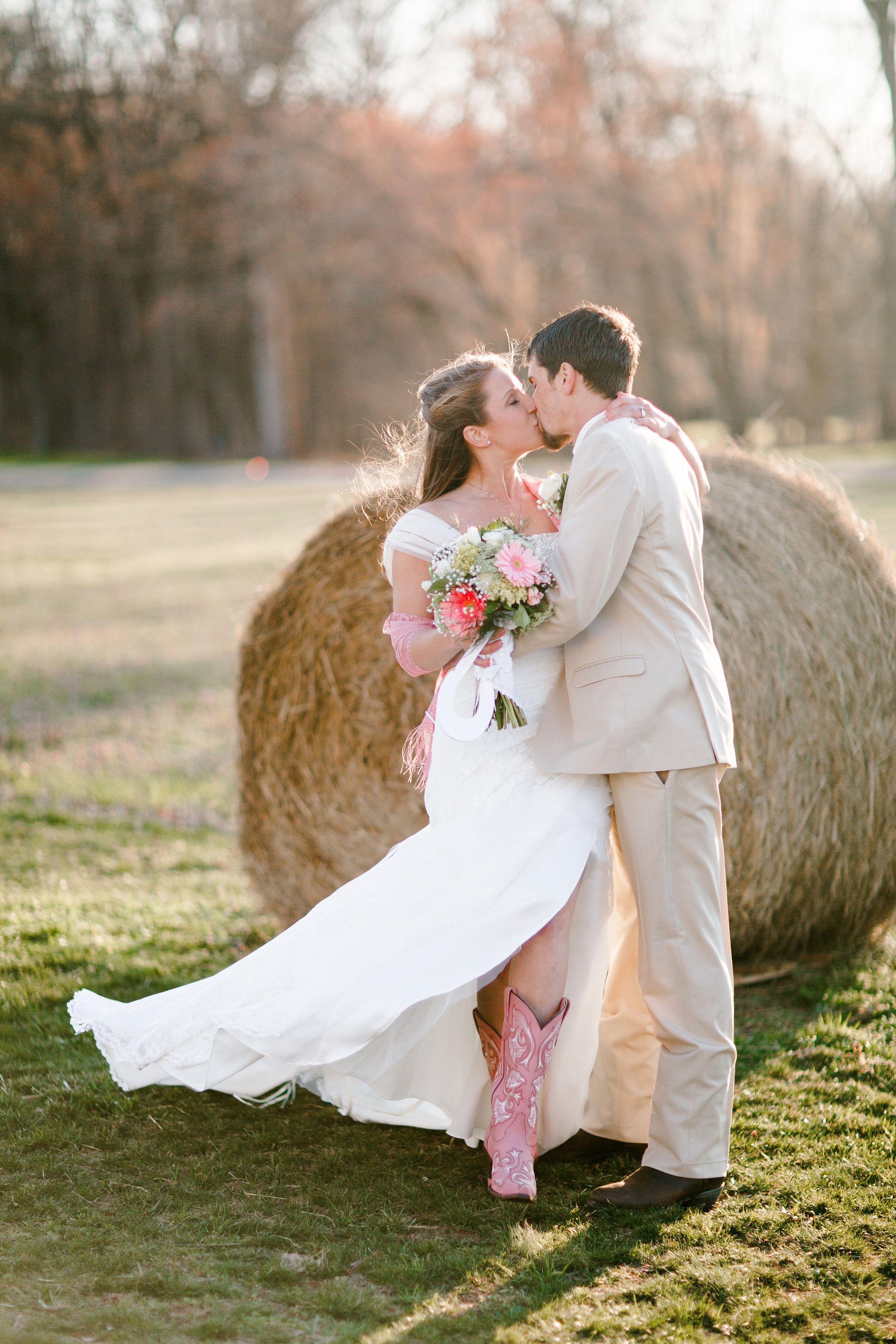 One of our first spring weddings of the season-love those pink cowgirl boots!  www.fairviewfarmevents.com