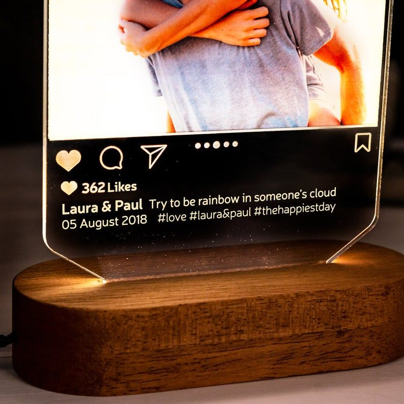 Instagram Style 3d Led Lamp Gift Personalised Lamp Gift For Etsy Girlfriend Gifts Gifts For Him Anniversay Gifts