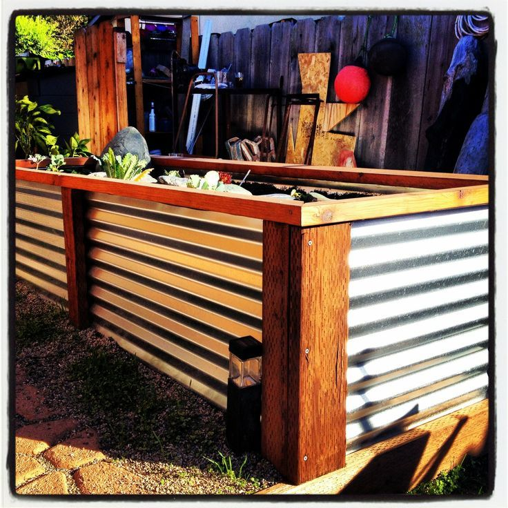 Kitchen Garden Box With Wire Top: Corrugated Aluminum Fence With Redwood Frame