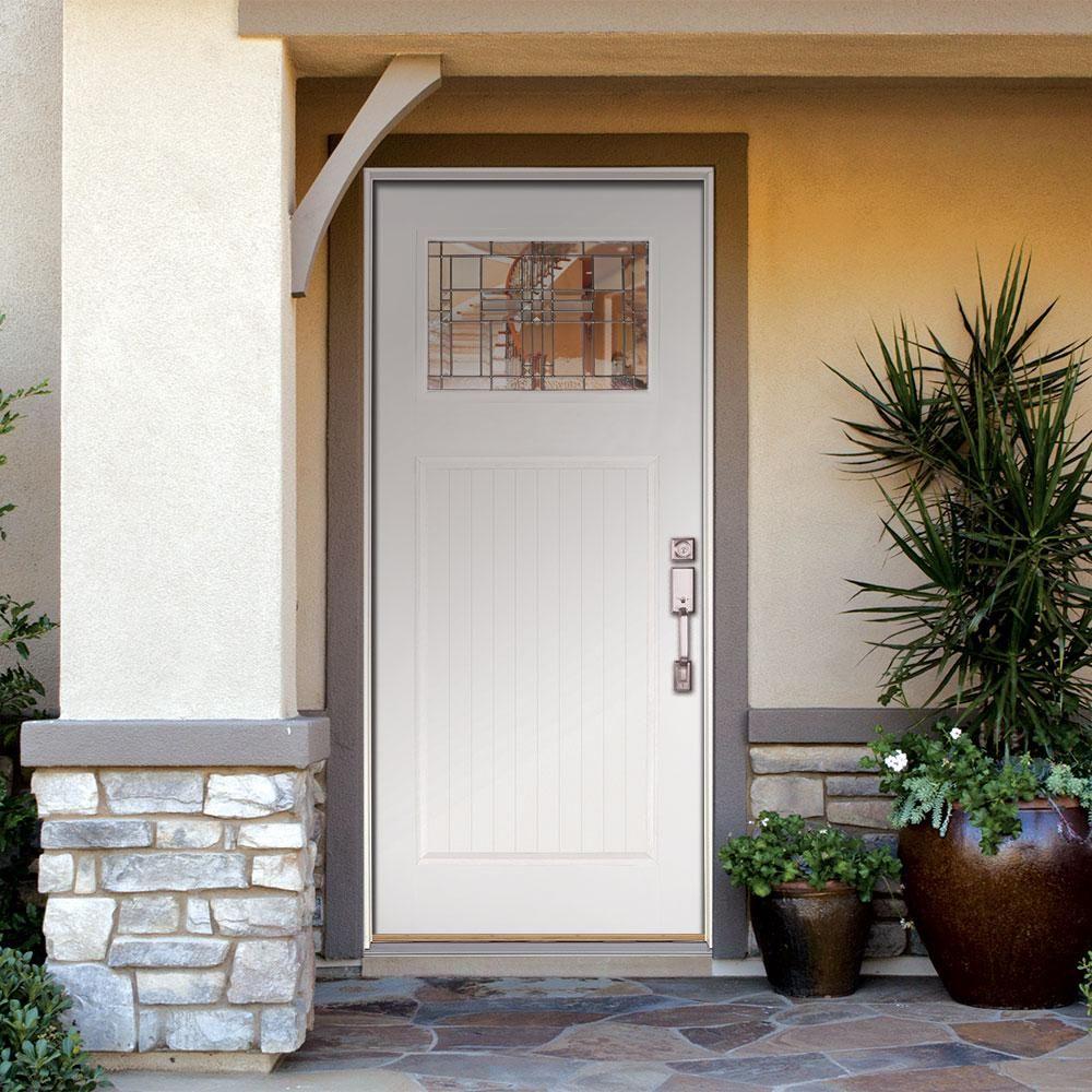 Feather River Doors 37 5 In X 81 625 In Monroe Zinc Craftsman 1 4 Lite Painted White Mahogany Lh Inswing Fiberglass Prehung Front Door N52a90 The Home Depot Front Door Prehung Doors Door Design