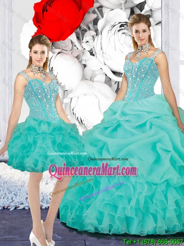 2d70f188e Elegant Straps Ball Gown Detachable Quinceanera Dresses in Turquoise ...
