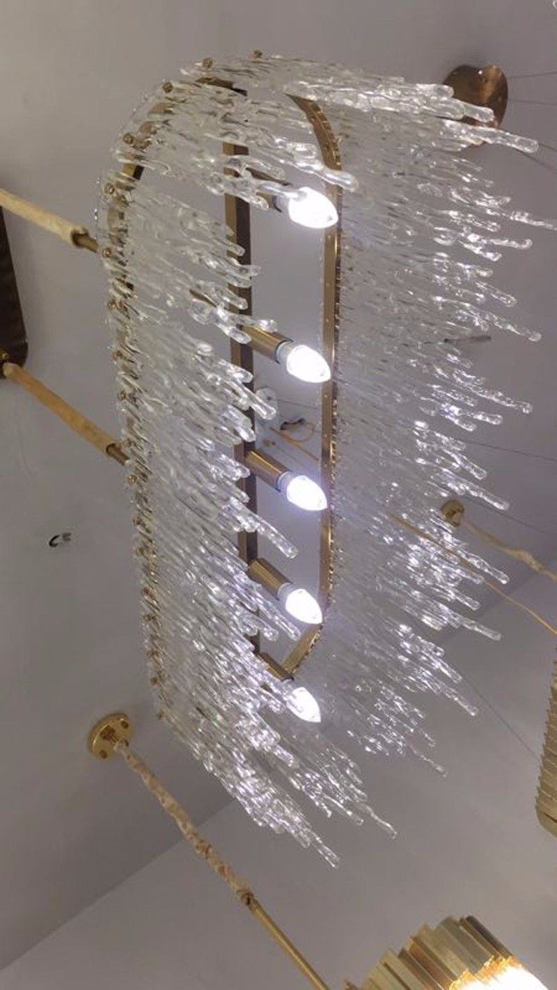Photo of post-modern Nordic chandelier lamp  concise art flowing natural rock crystal chandelier
