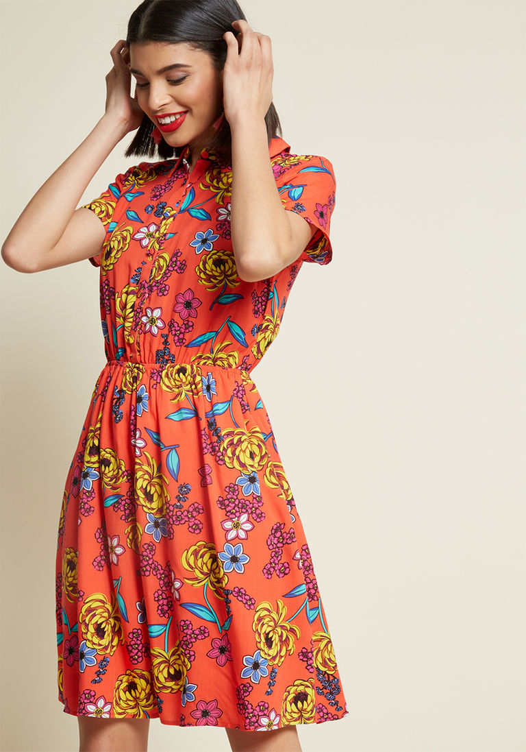 c62fe575c0 Joyfully Committed Shirt Dress in Red Floral in S by ModCloth