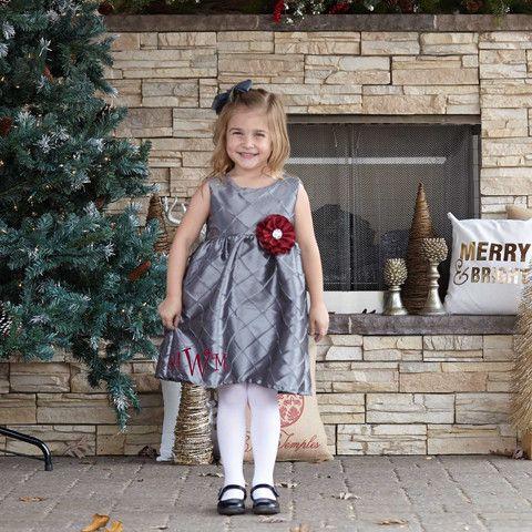 Girls Gray Silver Taffeta Ava Dress – Lolly Wolly Doodle
