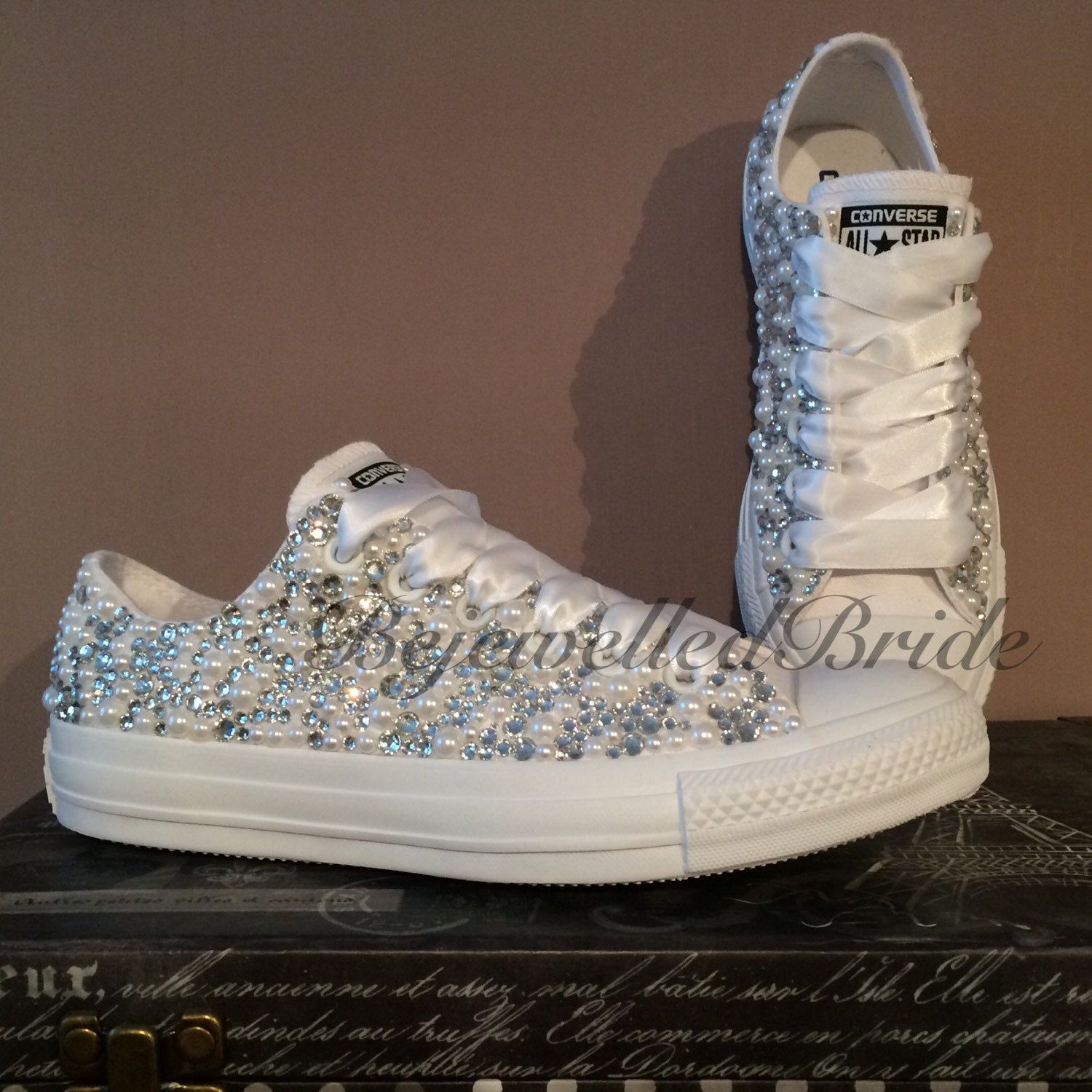Wedding Converse all white & Fully covered in Crystal + Pearl, added ...