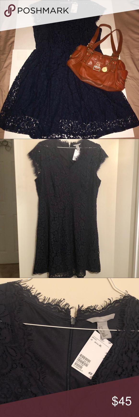 H&m blue lace dress  BNWT HuM dark blue lace fit u flare party dress NWT  My Posh Picks