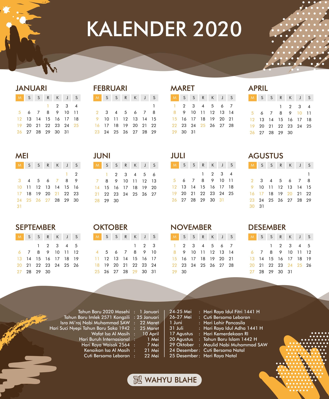 Kalender 2020 Indonesia Lengkap Dengan Hari Libur Nasional Kalender Hari Libur Kutipan Pengetahuan